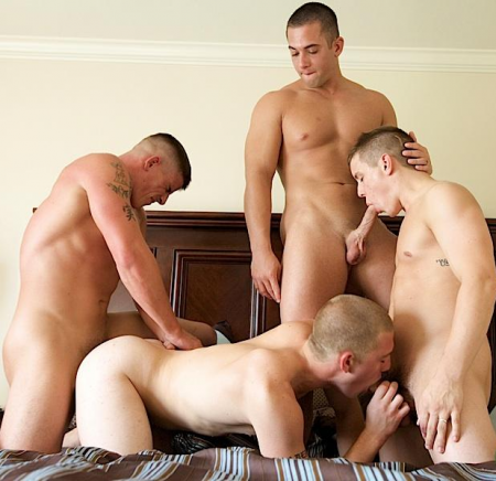Hot Naked Army Foursome