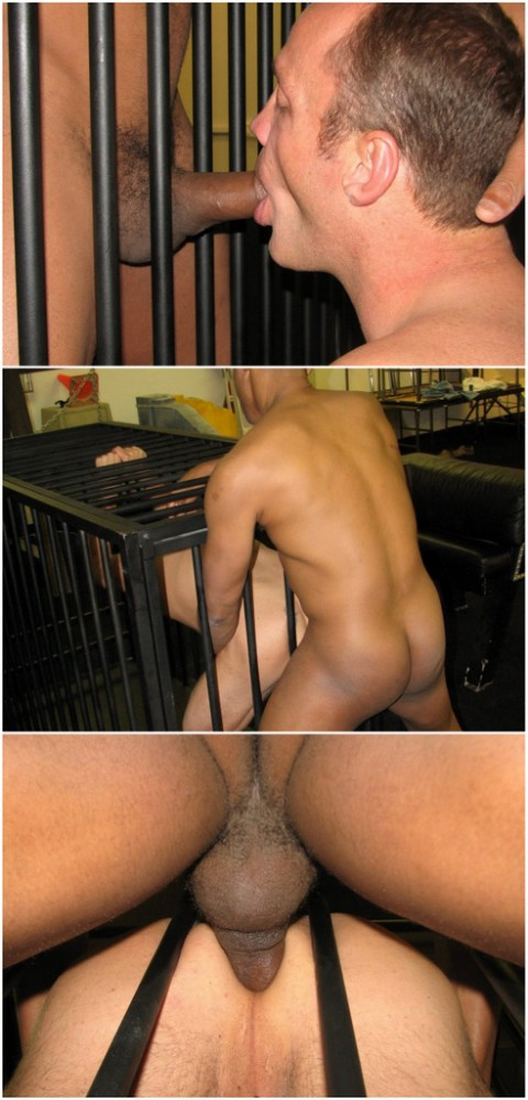 Breed Me Raw: Buster Shoves his Big Dick Raw on Chris' Caged Ass