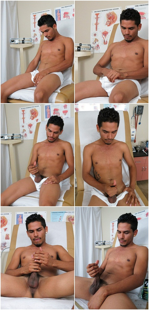 College Boy Physicals: Impatient Damian Strokes His Hardening Meat