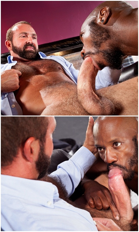 Raging Stallion: Race Dives for Josh's Stiff Horny Meat in His Pants